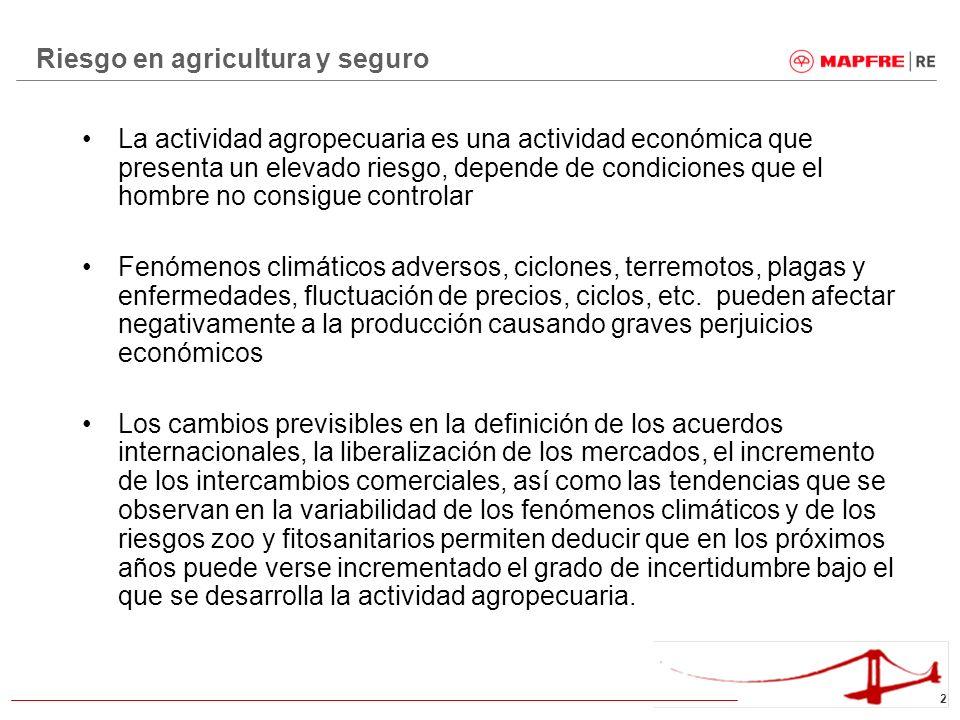 2 La actividad agropecuaria es una actividad económica que presenta un elevado riesgo, depende de condiciones que el hombre no consigue controlar Fenó