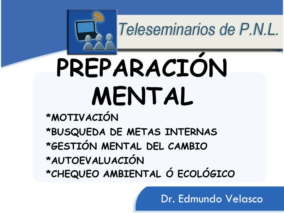 PREPARACIÓN MENTAL *GESTIÓN MENTAL DEL CAMBIO *BUSQUEDA DE METAS INTERNAS *MOTIVACIÓN *AUTOEVALUACIÓN *CHEQUEO AMBIENTAL Ó ECOLÓGICO