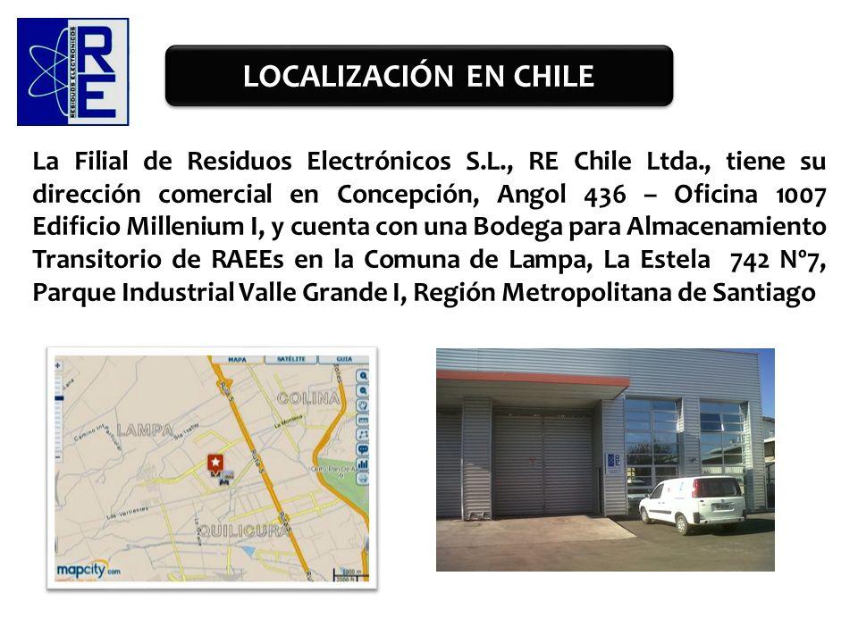 La Filial de Residuos Electrónicos S.L., RE Chile Ltda., tiene su dirección comercial en Concepción, Angol 436 – Oficina 1007 Edificio Millenium I, y