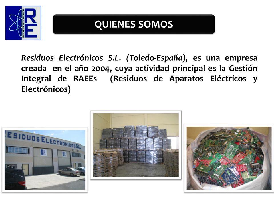 Residuos Electrónicos S.L. (Toledo-España), es una empresa creada en el año 2004, cuya actividad principal es la Gestión Integral de RAEEs (Residuos d