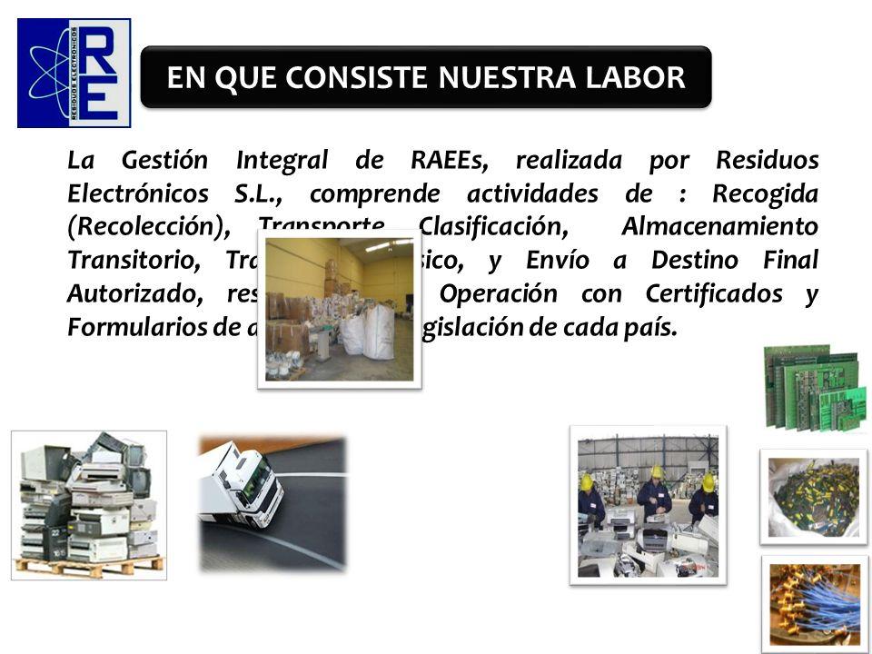 La Gestión Integral de RAEEs, realizada por Residuos Electrónicos S.L., comprende actividades de : Recogida (Recolección), Transporte, Clasificación,