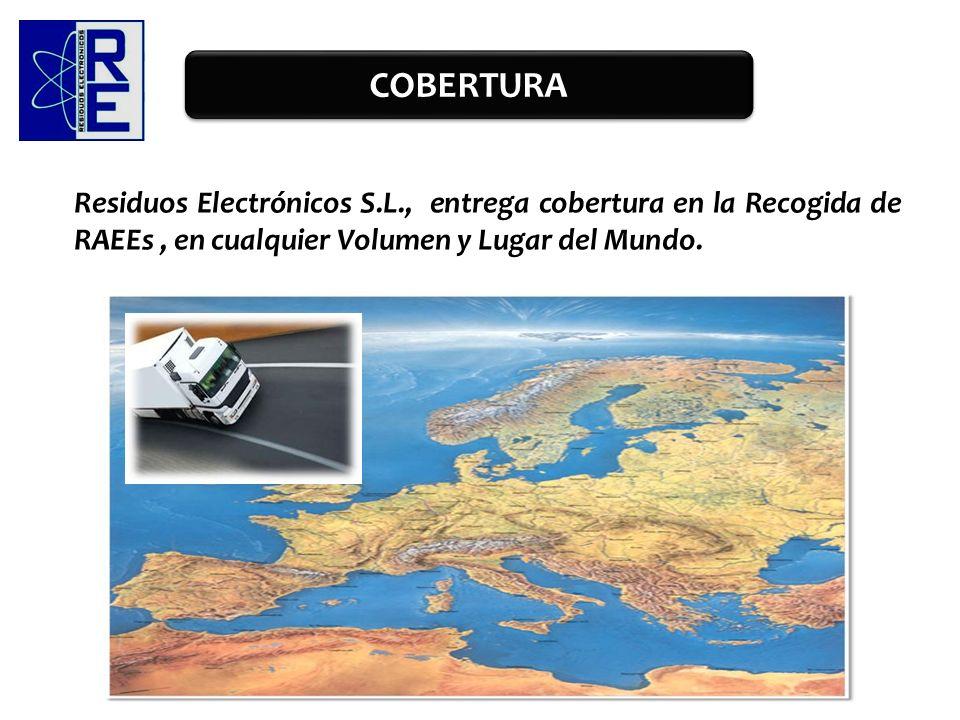 Residuos Electrónicos S.L., entrega cobertura en la Recogida de RAEEs, en cualquier Volumen y Lugar del Mundo. COBERTURA
