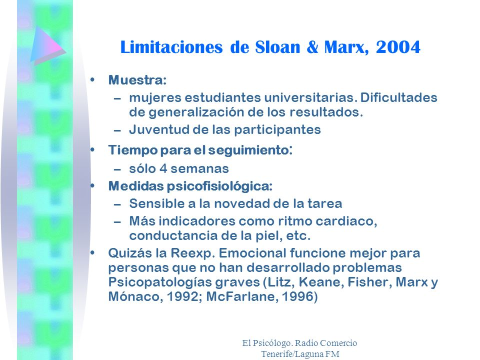 El Psicólogo. Radio Comercio Tenerife/Laguna FM Limitaciones de Sloan & Marx, 2004 Muestra: –mujeres estudiantes universitarias. Dificultades de gener