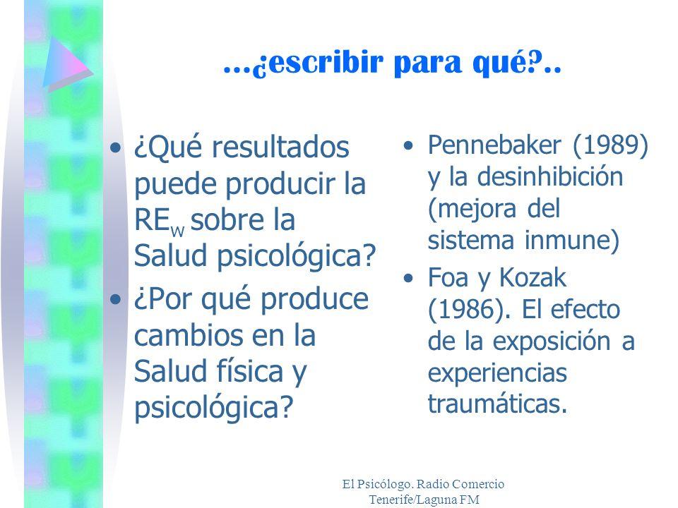 El Psicólogo. Radio Comercio Tenerife/Laguna FM...¿escribir para qué?.. ¿Qué resultados puede producir la RE w sobre la Salud psicológica? ¿Por qué pr