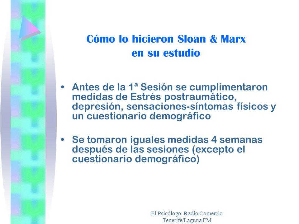 El Psicólogo. Radio Comercio Tenerife/Laguna FM Cómo lo hicieron Sloan & Marx en su estudio Antes de la 1ª Sesión se cumplimentaron medidas de Estrés