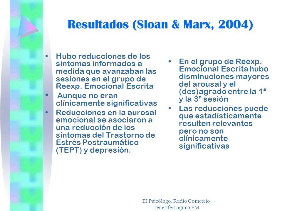 El Psicólogo. Radio Comercio Tenerife/Laguna FM Resultados (Sloan & Marx, 2004) Hubo reducciones de los síntomas informados a medida que avanzaban las
