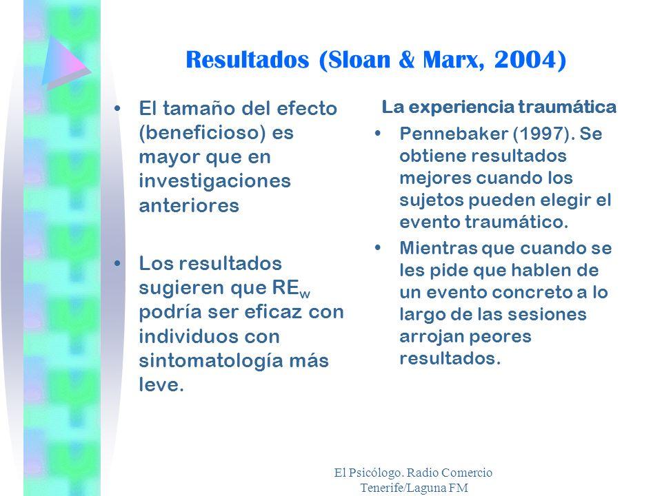 El Psicólogo. Radio Comercio Tenerife/Laguna FM El tamaño del efecto (beneficioso) es mayor que en investigaciones anteriores Los resultados sugieren