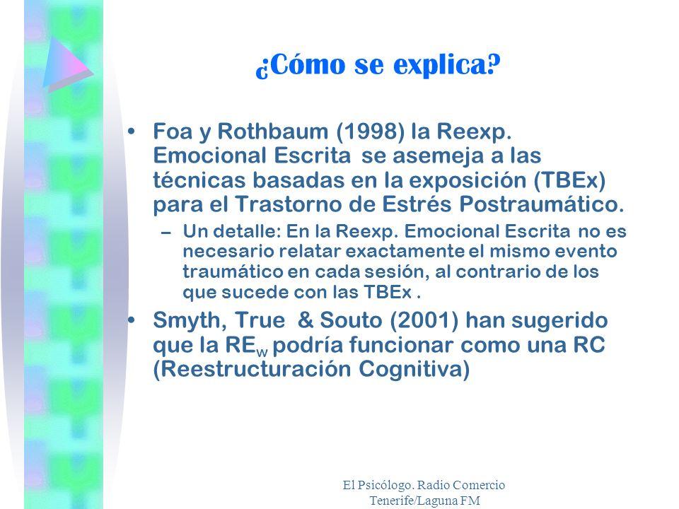 El Psicólogo. Radio Comercio Tenerife/Laguna FM ¿Cómo se explica? Foa y Rothbaum (1998) la Reexp. Emocional Escrita se asemeja a las técnicas basadas
