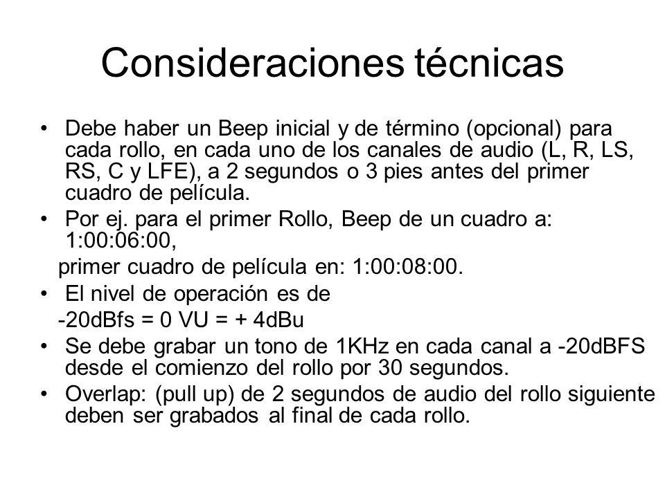 Consideraciones técnicas Debe haber un Beep inicial y de término (opcional) para cada rollo, en cada uno de los canales de audio (L, R, LS, RS, C y LF