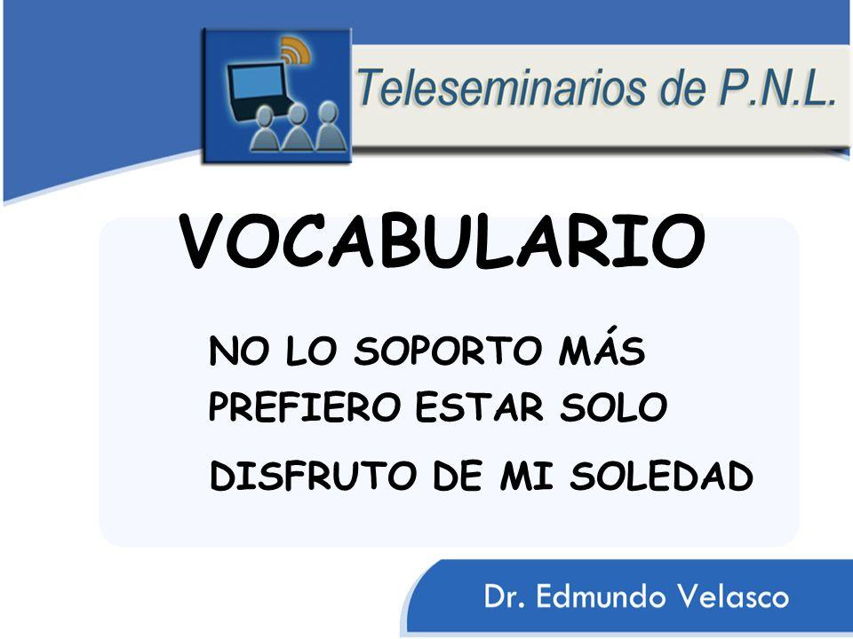 VOCABULARIO NO LO SOPORTO MÁS PREFIERO ESTAR SOLO DISFRUTO DE MI SOLEDAD