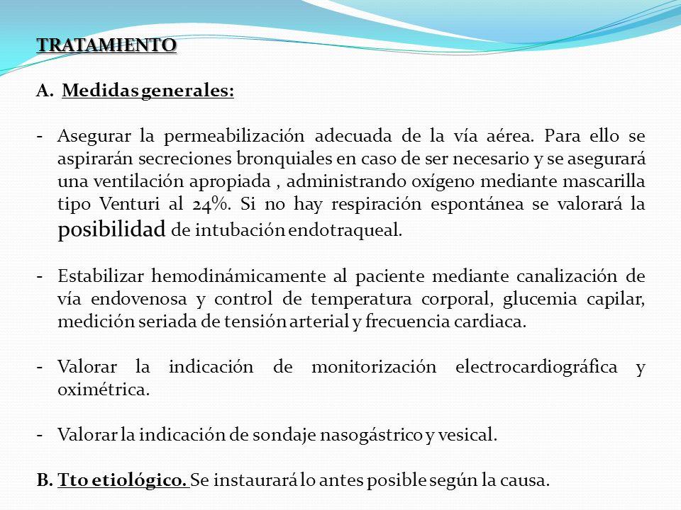 TRATAMIENTO A.Medidas generales: -Asegurar la permeabilización adecuada de la vía aérea. Para ello se aspirarán secreciones bronquiales en caso de ser