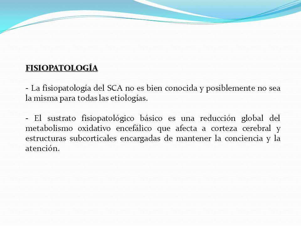 FISIOPATOLOGÍA - La fisiopatología del SCA no es bien conocida y posiblemente no sea la misma para todas las etiologías. - El sustrato fisiopatológico