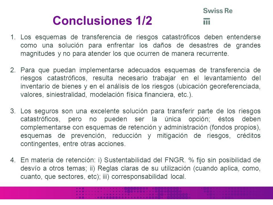 Conclusiones 1/2 1.Los esquemas de transferencia de riesgos catastróficos deben entenderse como una solución para enfrentar los daños de desastres de