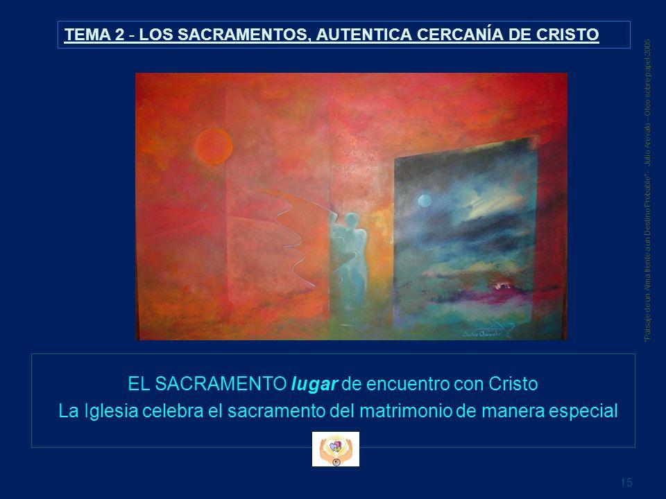 EL SACRAMENTO lugar de encuentro con Cristo La Iglesia celebra el sacramento del matrimonio de manera especial 15 Paisaje de un Alma frente a un Desti