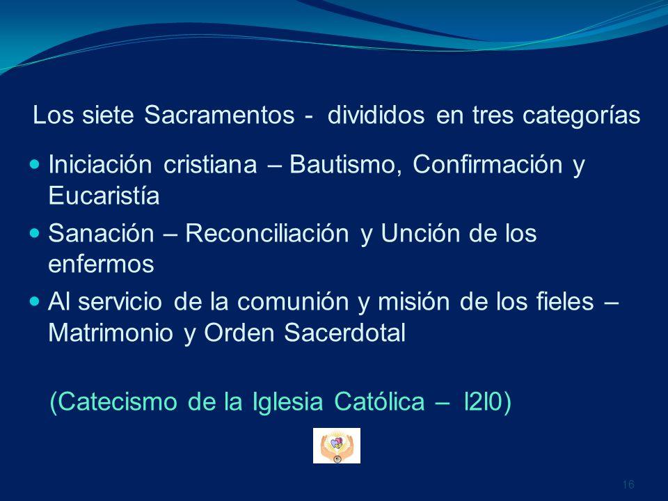 Los siete Sacramentos - divididos en tres categorías Iniciación cristiana – Bautismo, Confirmación y Eucaristía Sanación – Reconciliación y Unción de