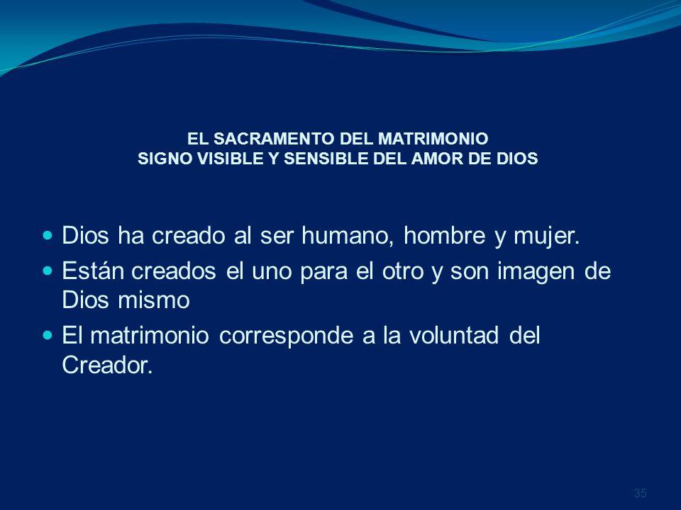 EL SACRAMENTO DEL MATRIMONIO SIGNO VISIBLE Y SENSIBLE DEL AMOR DE DIOS Dios ha creado al ser humano, hombre y mujer. Están creados el uno para el otro