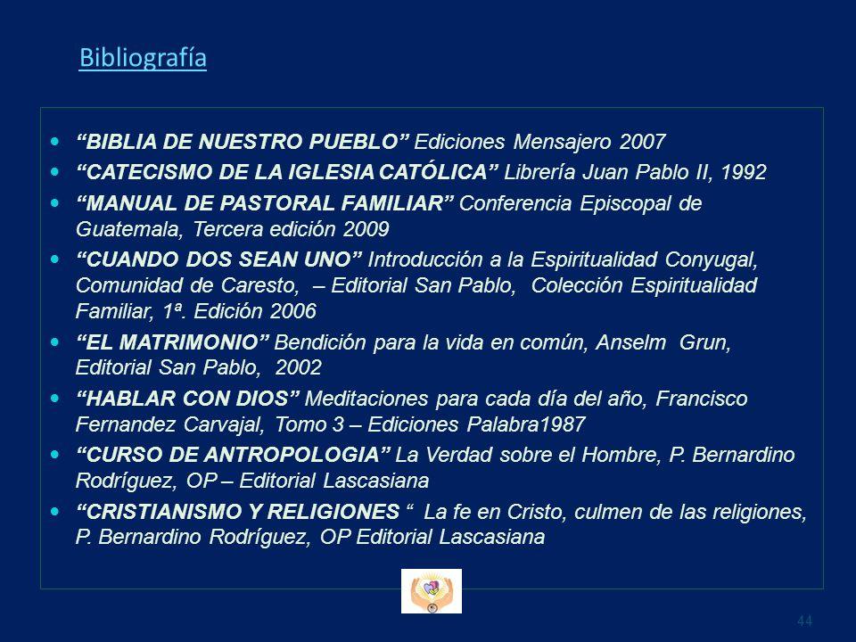 Bibliografía BIBLIA DE NUESTRO PUEBLO Ediciones Mensajero 2007 CATECISMO DE LA IGLESIA CATÓLICA Librería Juan Pablo II, 1992 MANUAL DE PASTORAL FAMILI