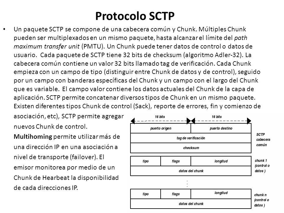 Protocolo SCTP Un paquete SCTP se compone de una cabecera común y Chunk. Múltiples Chunk pueden ser multiplexados en un mismo paquete, hasta alcanzar