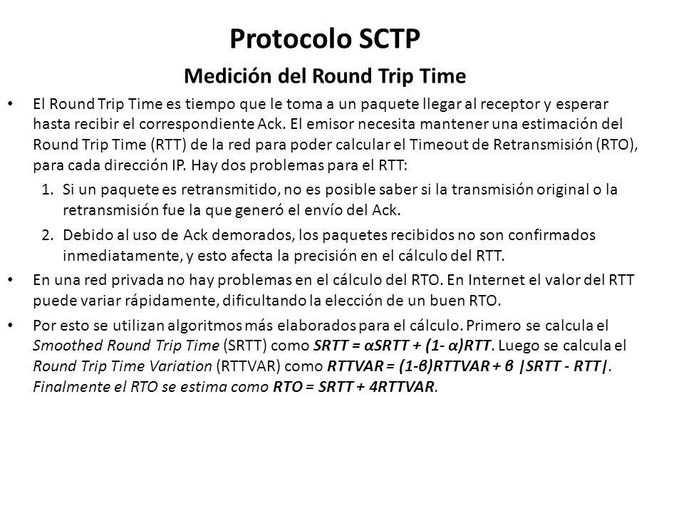Protocolo SCTP Medición del Round Trip Time El Round Trip Time es tiempo que le toma a un paquete llegar al receptor y esperar hasta recibir el corres