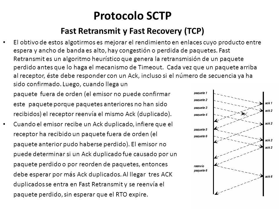 Protocolo SCTP Fast Retransmit y Fast Recovery (TCP) El obtivo de estos algotirmos es mejorar el rendimiento en enlaces cuyo producto entre espera y a