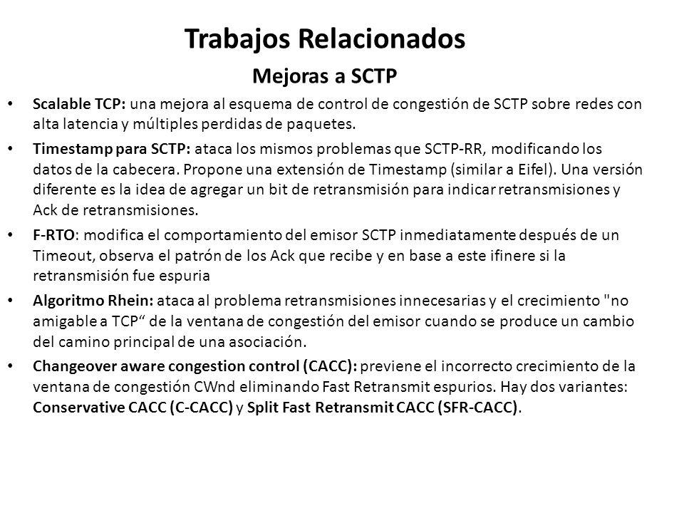 Trabajos Relacionados Mejoras a SCTP Scalable TCP: una mejora al esquema de control de congestión de SCTP sobre redes con alta latencia y múltiples pe
