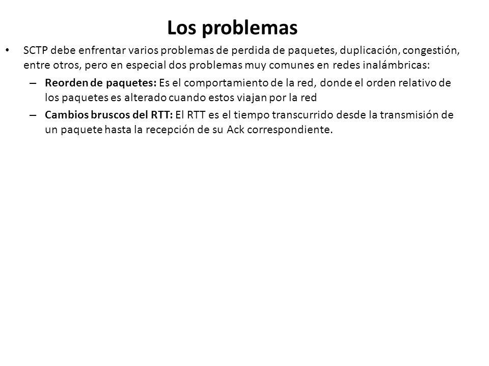 Los problemas SCTP debe enfrentar varios problemas de perdida de paquetes, duplicación, congestión, entre otros, pero en especial dos problemas muy co