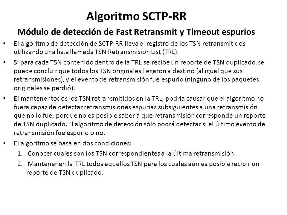 Algoritmo SCTP-RR Módulo de detección de Fast Retransmit y Timeout espurios El algoritmo de detección de SCTP-RR lleva el registro de los TSN retransm