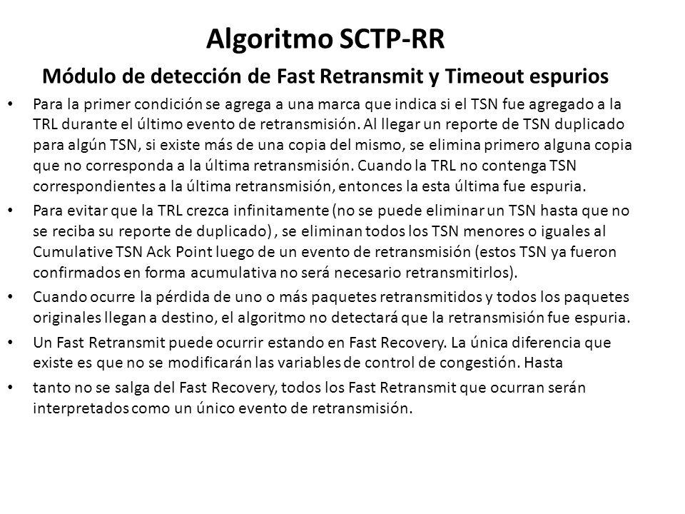 Algoritmo SCTP-RR Módulo de detección de Fast Retransmit y Timeout espurios Para la primer condición se agrega a una marca que indica si el TSN fue ag