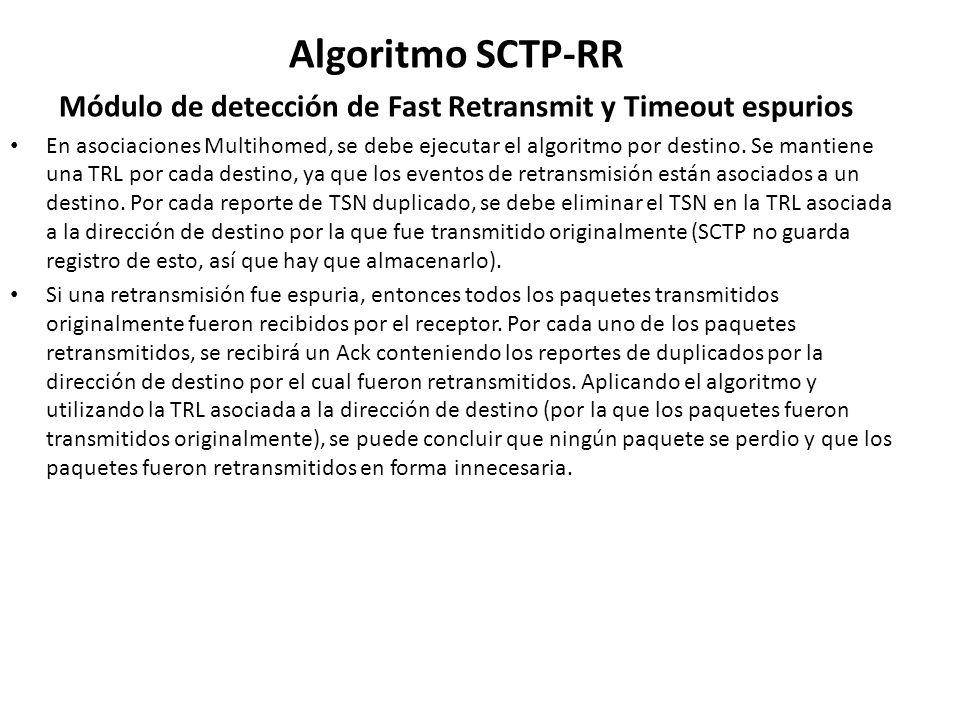 Algoritmo SCTP-RR Módulo de detección de Fast Retransmit y Timeout espurios En asociaciones Multihomed, se debe ejecutar el algoritmo por destino. Se