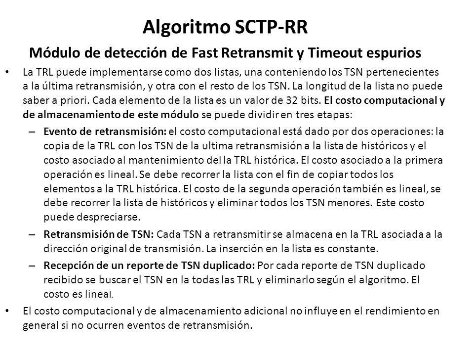 Algoritmo SCTP-RR Módulo de detección de Fast Retransmit y Timeout espurios La TRL puede implementarse como dos listas, una conteniendo los TSN perten