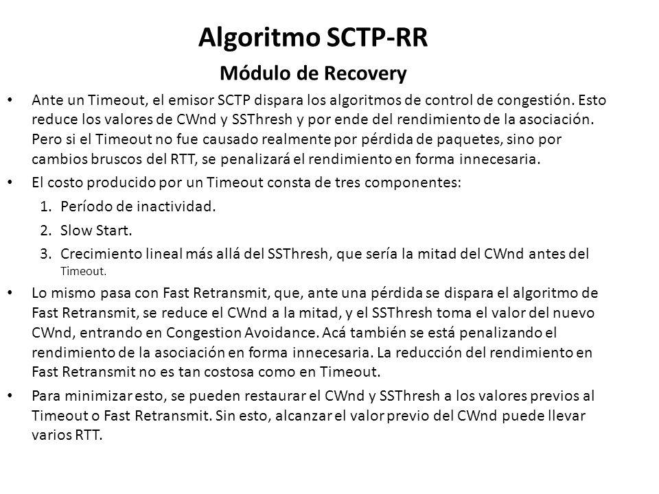 Algoritmo SCTP-RR Módulo de Recovery Ante un Timeout, el emisor SCTP dispara los algoritmos de control de congestión. Esto reduce los valores de CWnd