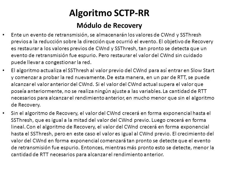 Algoritmo SCTP-RR Módulo de Recovery Ente un evento de retransmisión, se almacenarán los valores de CWnd y SSThresh previos a la reducción sobre la di