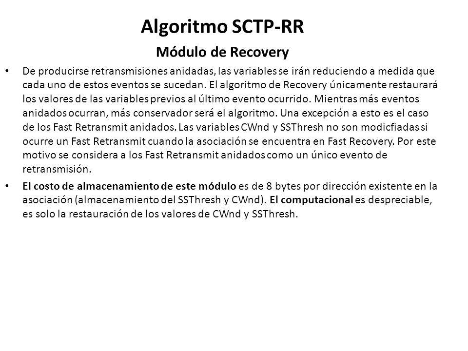 Algoritmo SCTP-RR Módulo de Recovery De producirse retransmisiones anidadas, las variables se irán reduciendo a medida que cada uno de estos eventos s