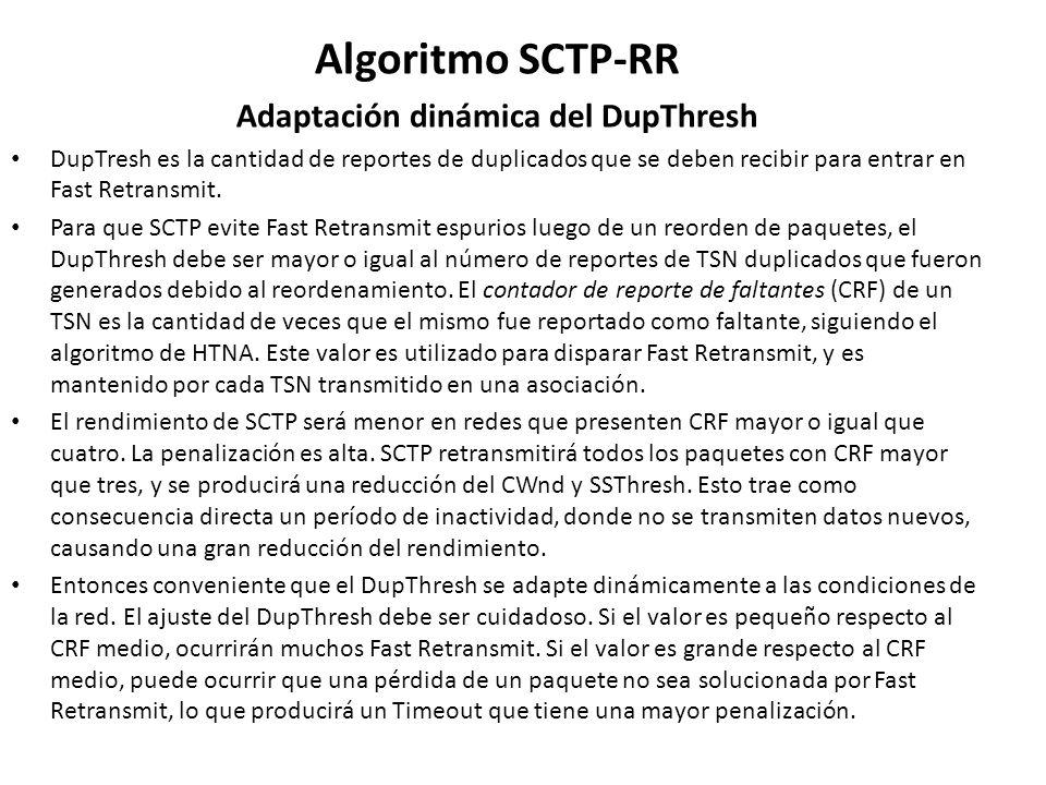 Algoritmo SCTP-RR Adaptación dinámica del DupThresh DupTresh es la cantidad de reportes de duplicados que se deben recibir para entrar en Fast Retrans