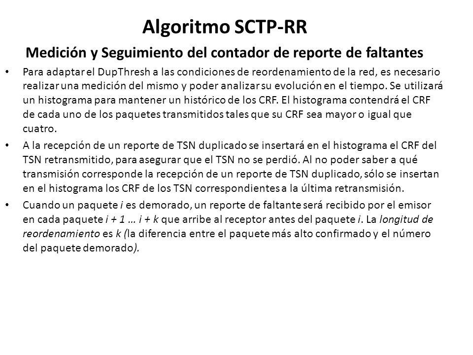 Algoritmo SCTP-RR Medición y Seguimiento del contador de reporte de faltantes Para adaptar el DupThresh a las condiciones de reordenamiento de la red,