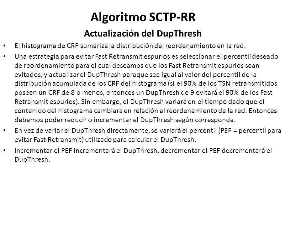 Algoritmo SCTP-RR Actualización del DupThresh El histograma de CRF sumariza la distribución del reordenamiento en la red. Una estrategia para evitar F