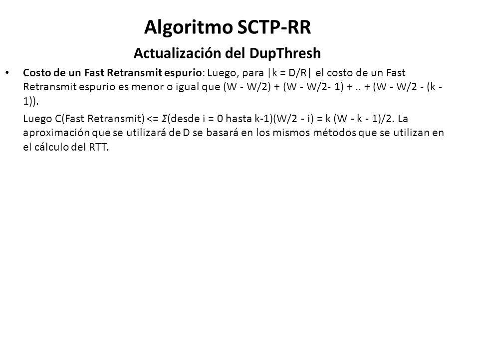 Algoritmo SCTP-RR Actualización del DupThresh Costo de un Fast Retransmit espurio: Luego, para |k = D/R| el costo de un Fast Retransmit espurio es men