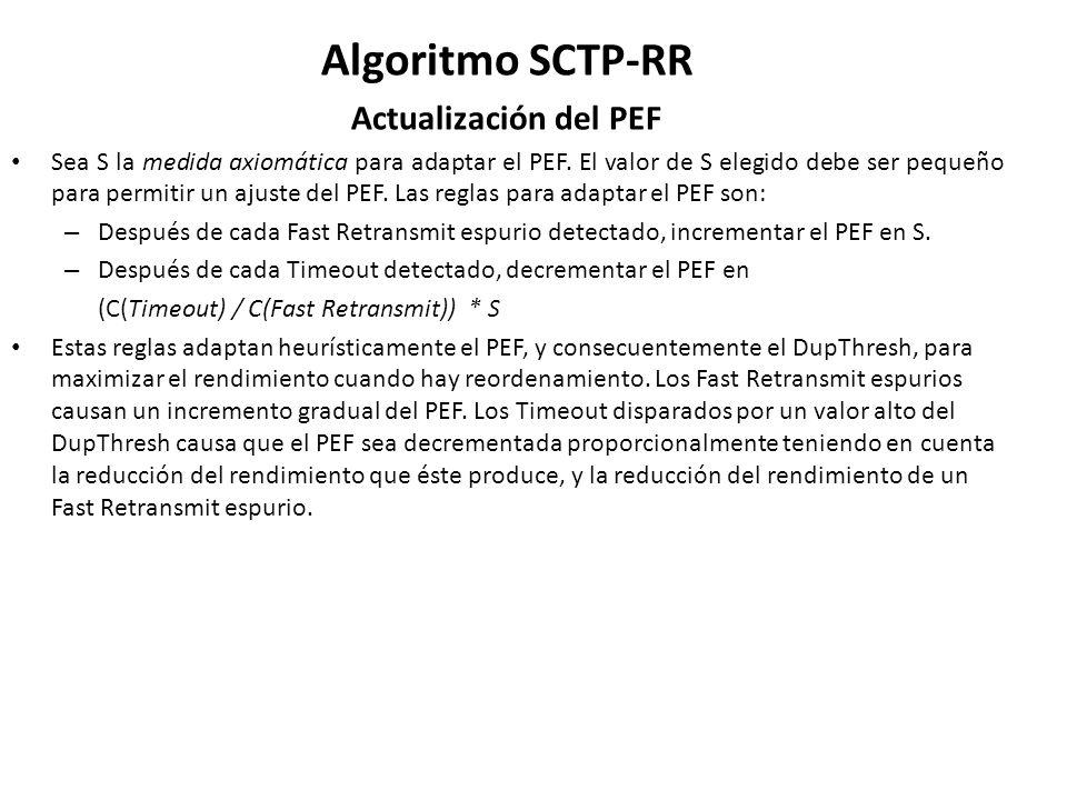 Algoritmo SCTP-RR Actualización del PEF Sea S la medida axiomática para adaptar el PEF. El valor de S elegido debe ser pequeño para permitir un ajuste