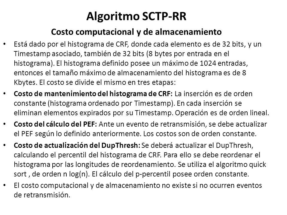 Algoritmo SCTP-RR Costo computacional y de almacenamiento Está dado por el histograma de CRF, donde cada elemento es de 32 bits, y un Timestamp asocia