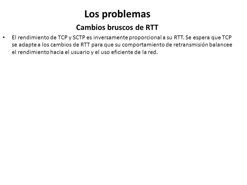 Los problemas Cambios bruscos de RTT El rendimiento de TCP y SCTP es inversamente proporcional a su RTT. Se espera que TCP se adapte a los cambios de