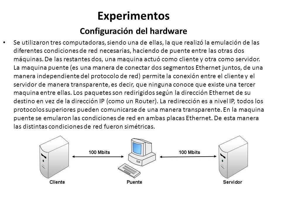 Experimentos Configuración del hardware Se utilizaron tres computadoras, siendo una de ellas, la que realizó la emulación de las diferentes condicione