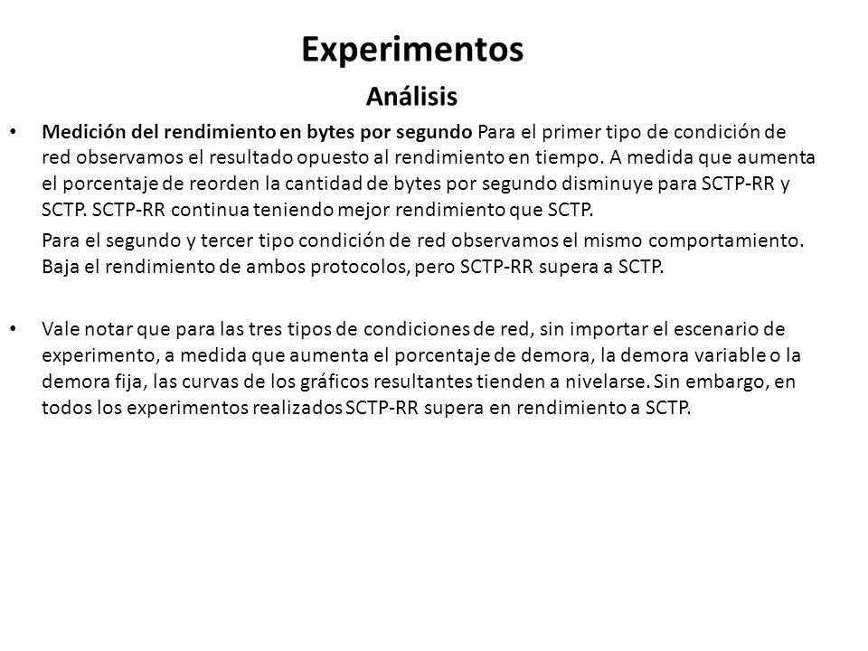 Experimentos Análisis Medición del rendimiento en bytes por segundo Para el primer tipo de condición de red observamos el resultado opuesto al rendimi