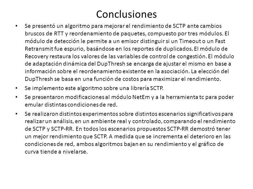 Conclusiones Se presentó un algoritmo para mejorar el rendimiento de SCTP ante cambios bruscos de RTT y reordenamiento de paquetes, compuesto por tres