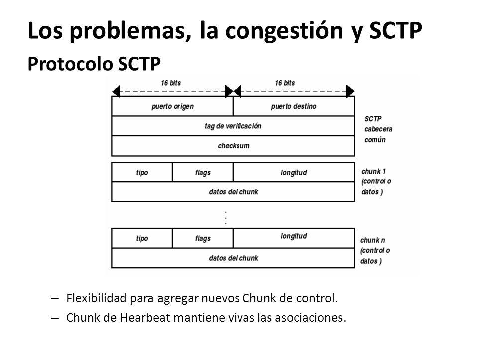 Los problemas, la congestión y SCTP Protocolo SCTP – Flexibilidad para agregar nuevos Chunk de control. – Chunk de Hearbeat mantiene vivas las asociac