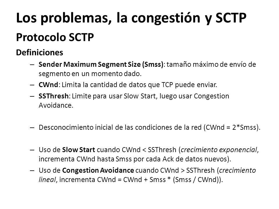 Los problemas, la congestión y SCTP Protocolo SCTP Definiciones – Sender Maximum Segment Size (Smss): tamaño máximo de envío de segmento en un momento