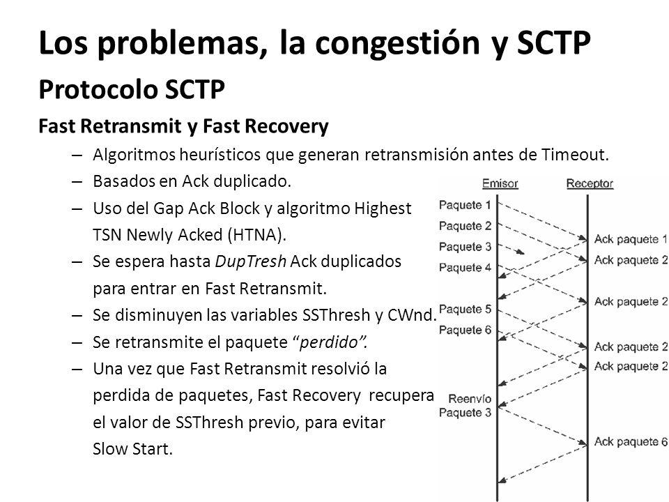 Los problemas, la congestión y SCTP Protocolo SCTP Fast Retransmit y Fast Recovery – Algoritmos heurísticos que generan retransmisión antes de Timeout