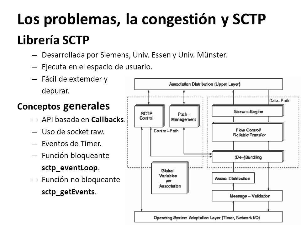 Los problemas, la congestión y SCTP Librería SCTP – Desarrollada por Siemens, Univ. Essen y Univ. Münster. – Ejecuta en el espacio de usuario. – Fácil