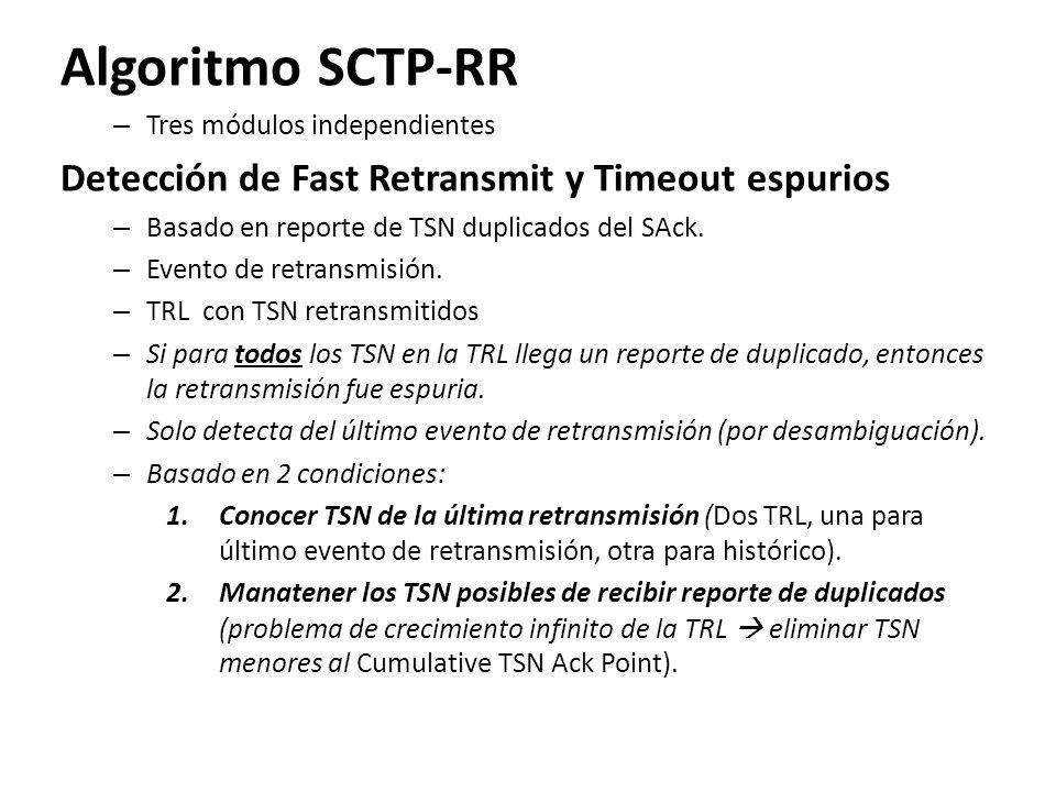 Algoritmo SCTP-RR – Tres módulos independientes Detección de Fast Retransmit y Timeout espurios – Basado en reporte de TSN duplicados del SAck. – Even