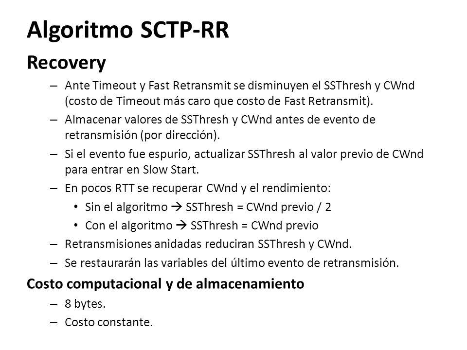 Algoritmo SCTP-RR Recovery – Ante Timeout y Fast Retransmit se disminuyen el SSThresh y CWnd (costo de Timeout más caro que costo de Fast Retransmit).