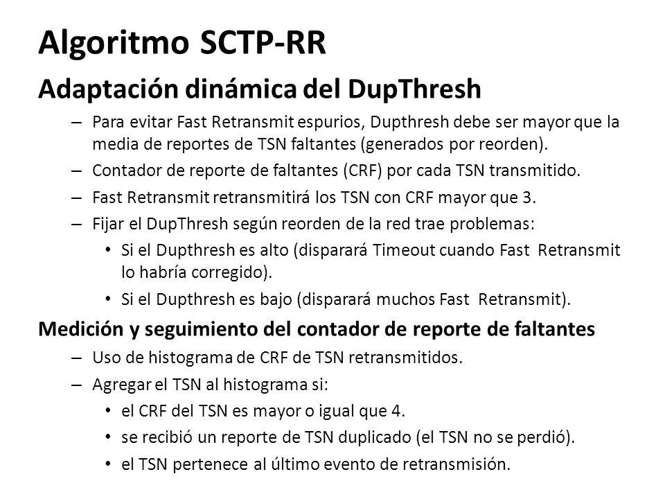 Algoritmo SCTP-RR Adaptación dinámica del DupThresh – Para evitar Fast Retransmit espurios, Dupthresh debe ser mayor que la media de reportes de TSN f